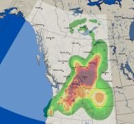 Smoke forecast captured August 24, 2015