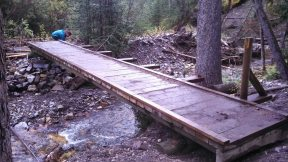 Work being completed on the bridges on the Galatea Trail, September 2015.