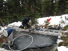 Installing a snow pillow at Southesk