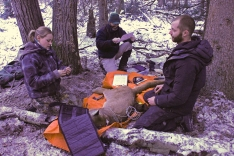 Team members Fauve, Mike and Luke work together to collect data, monitor and collar a cougar